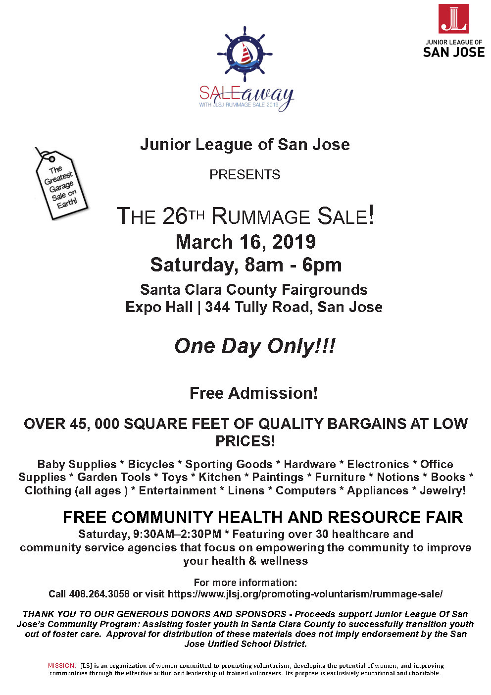 Rummage Sale | Junior League of San Jose
